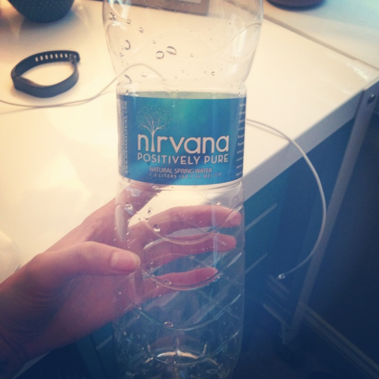 50.7 oz bottle of water I drink from during the day.