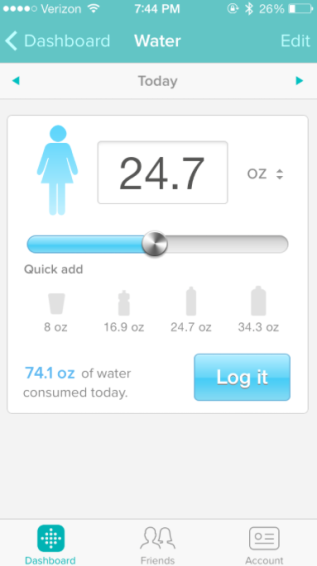 Example of what it looks like as I track my water intake with FitBit.